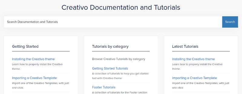 Creativo documentation and tutorials