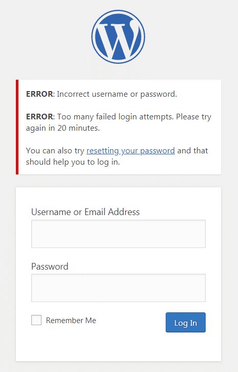 Limit Logins Attempts Reloaded login example