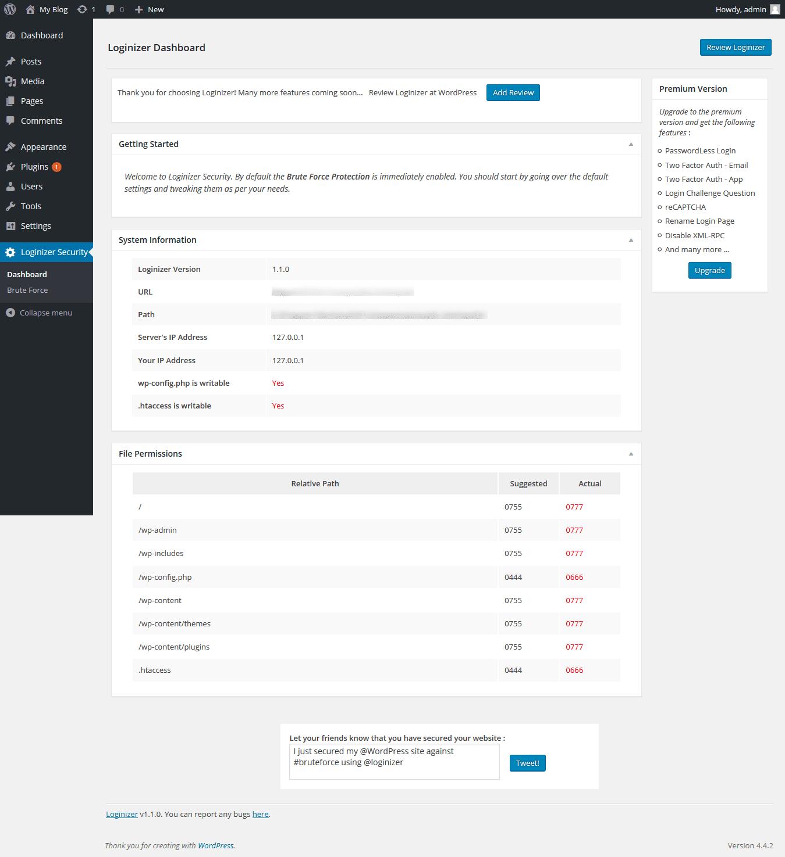 Loginizer dashboard