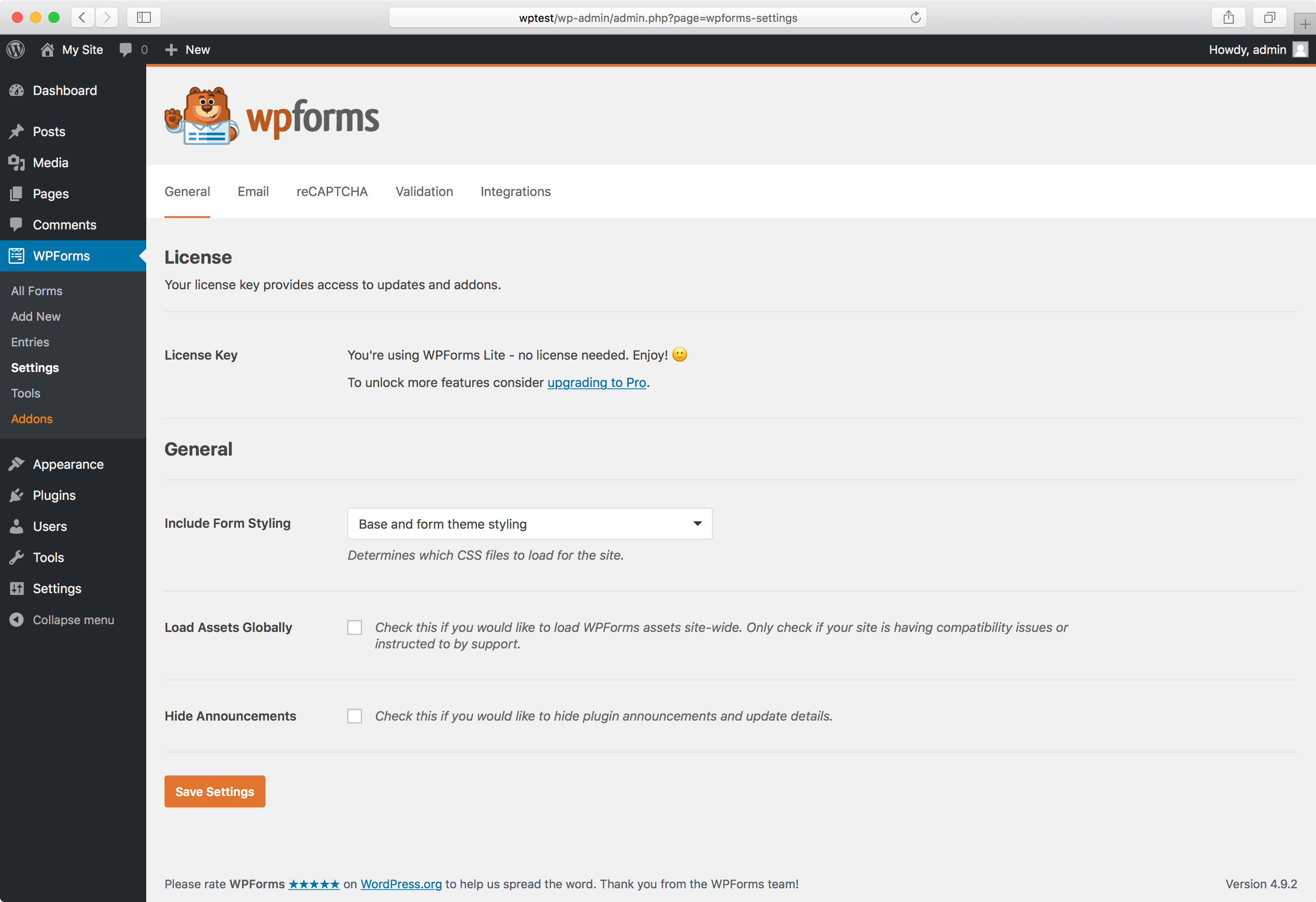 WPForms settings