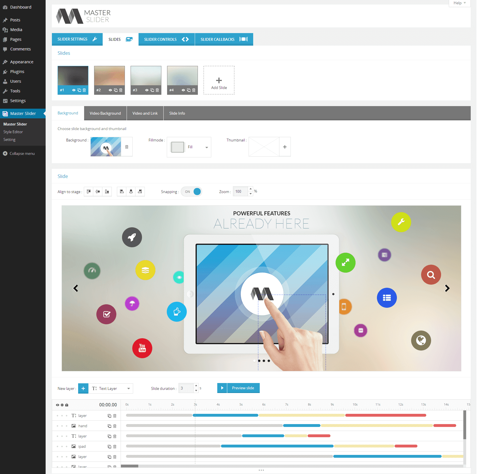 Creating a new slider with the Master Slider plugin.