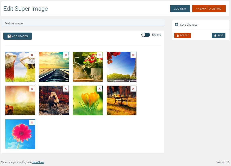 Choosing images for a slider in Super Carousel.