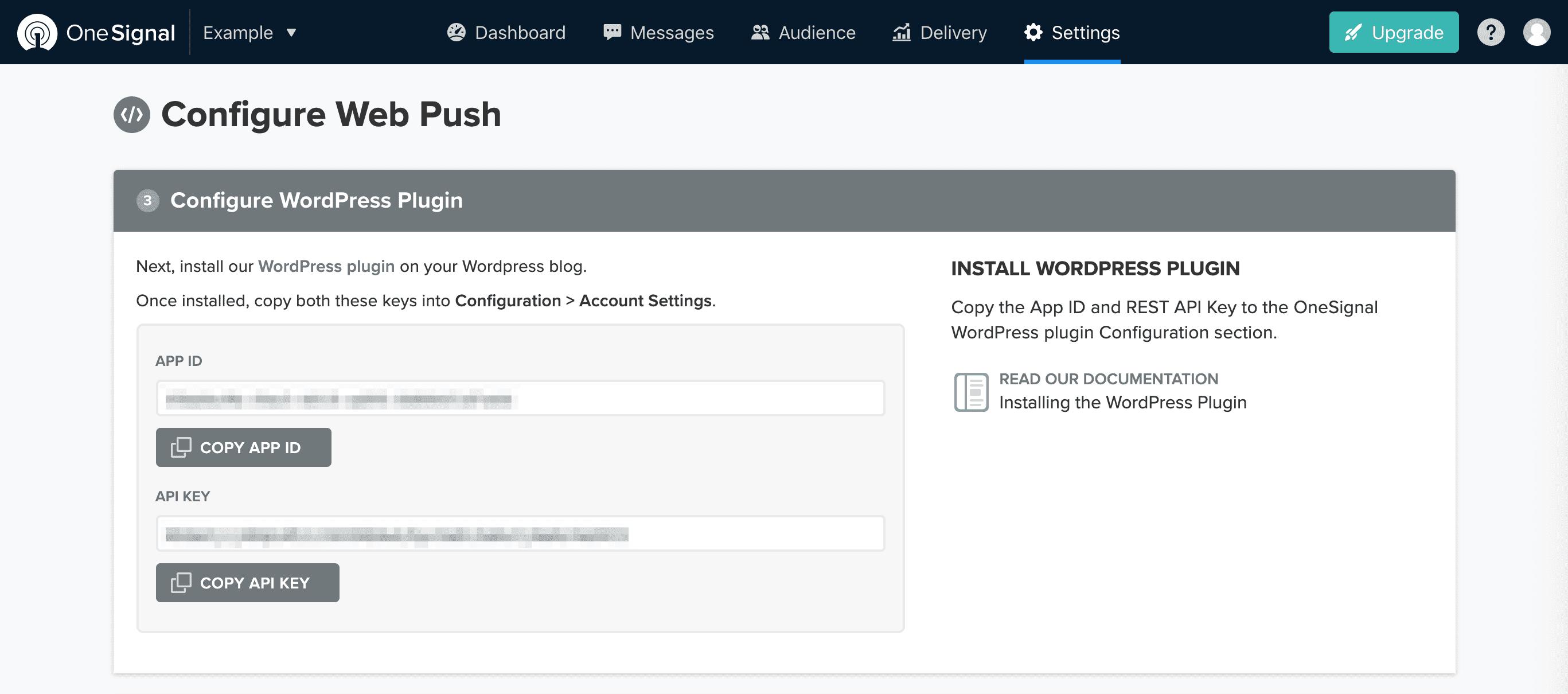 Receiving the OneSignal App ID and API key.