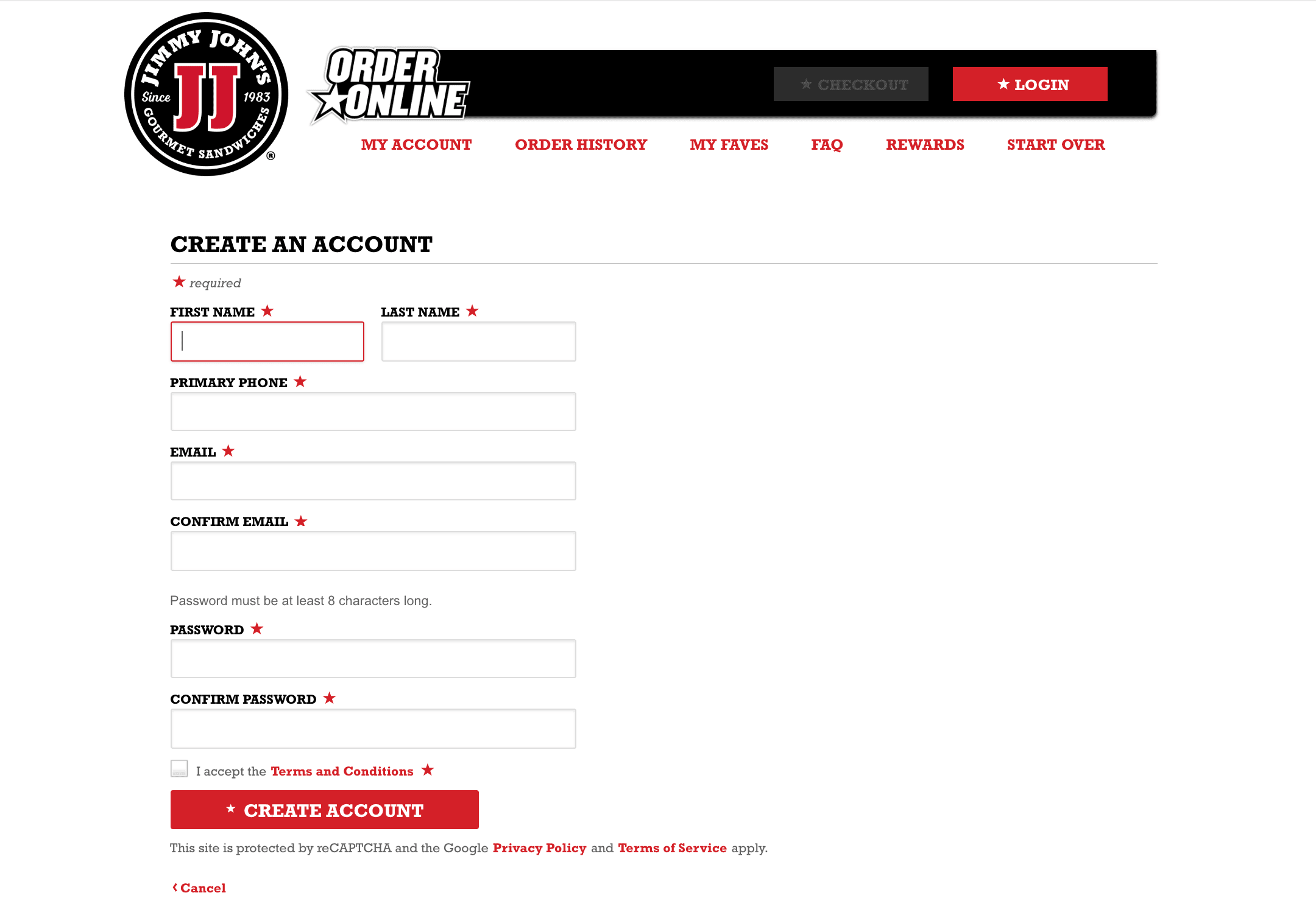 The Jimmy John's account sign up form, which includes a mandatory phone field.