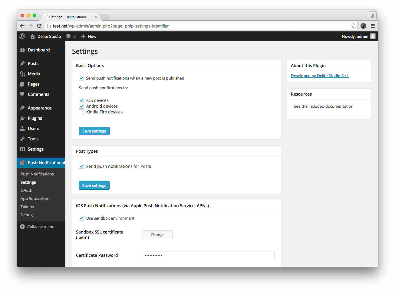 Configuring the settings for the Push Notifications for WordPress plugin.