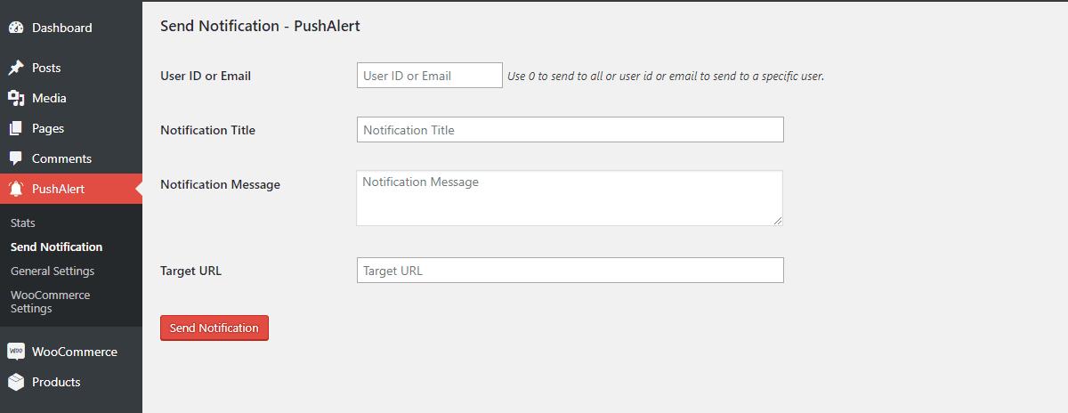 A new PushAlert notification in the WordPress dashboard.