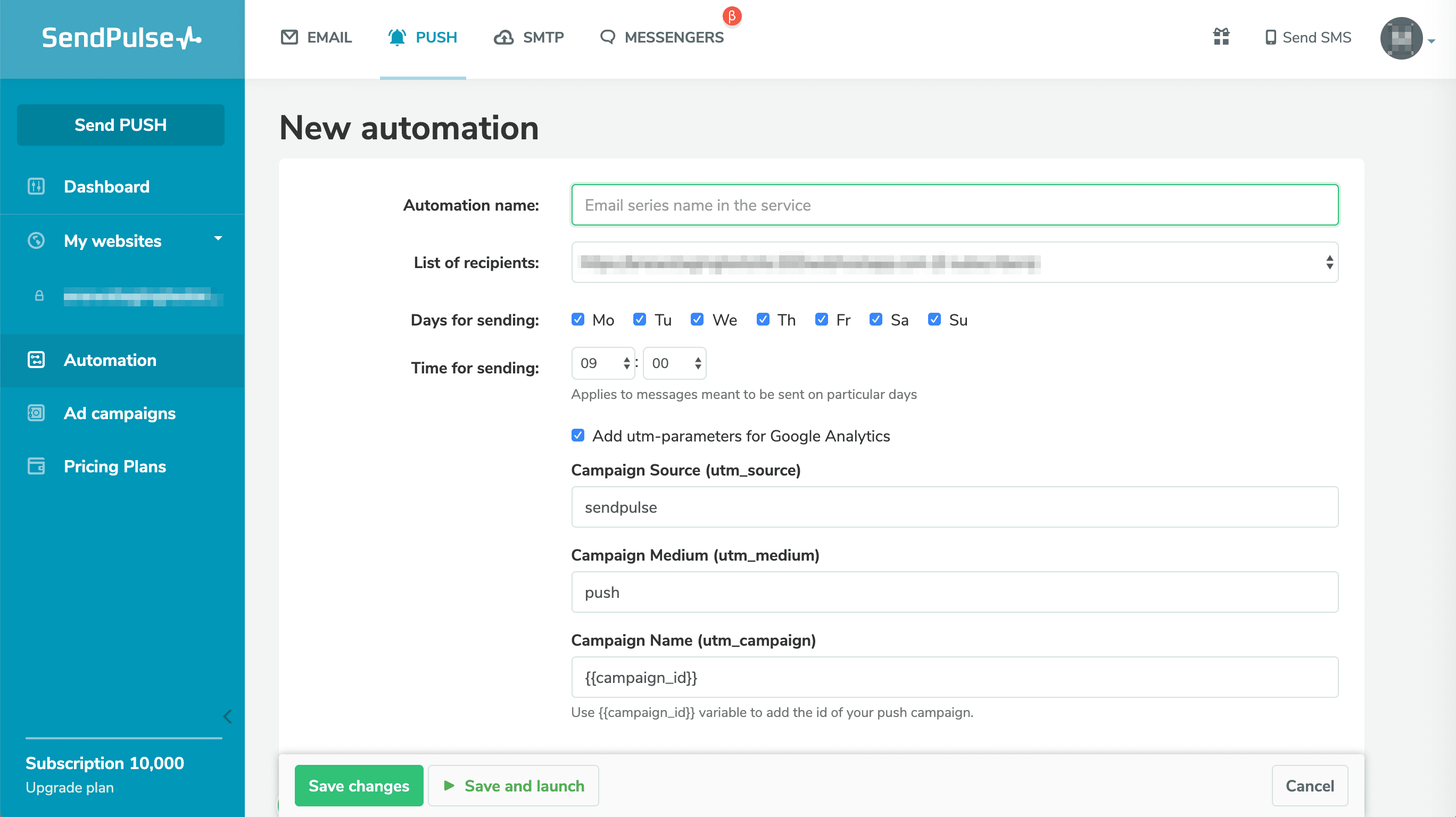 Creating an automation flow in SendPulse.