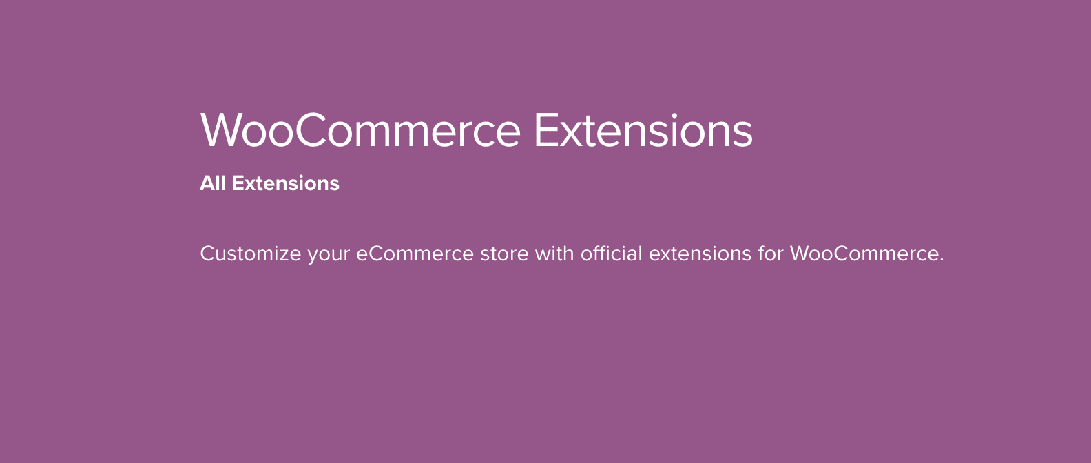 The WooCommerce Extensions banner.