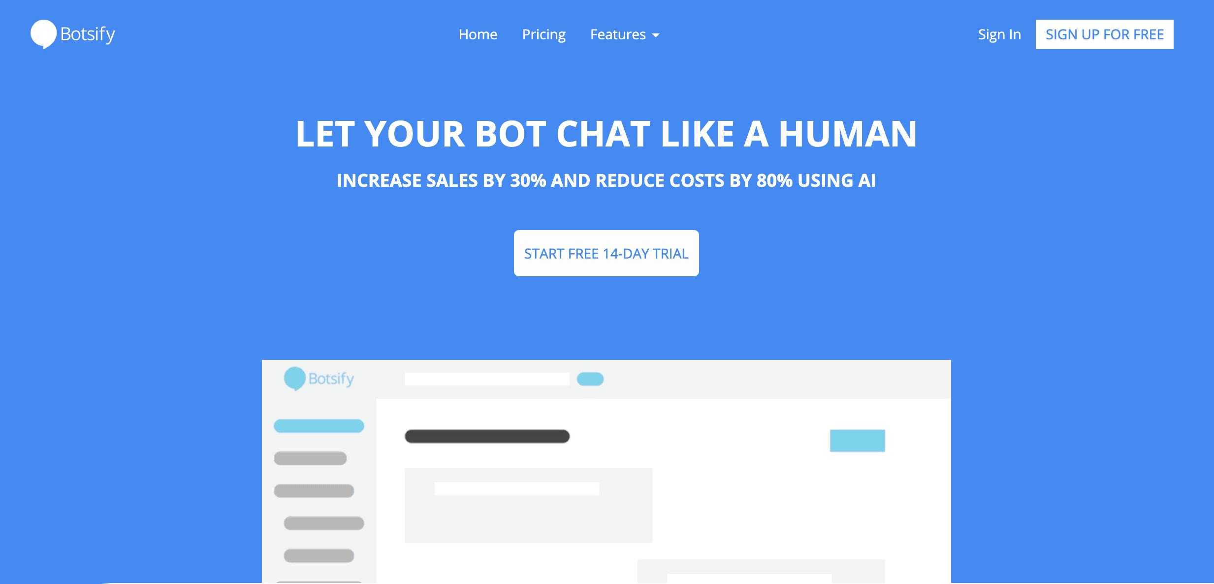 The Botsify homepage.
