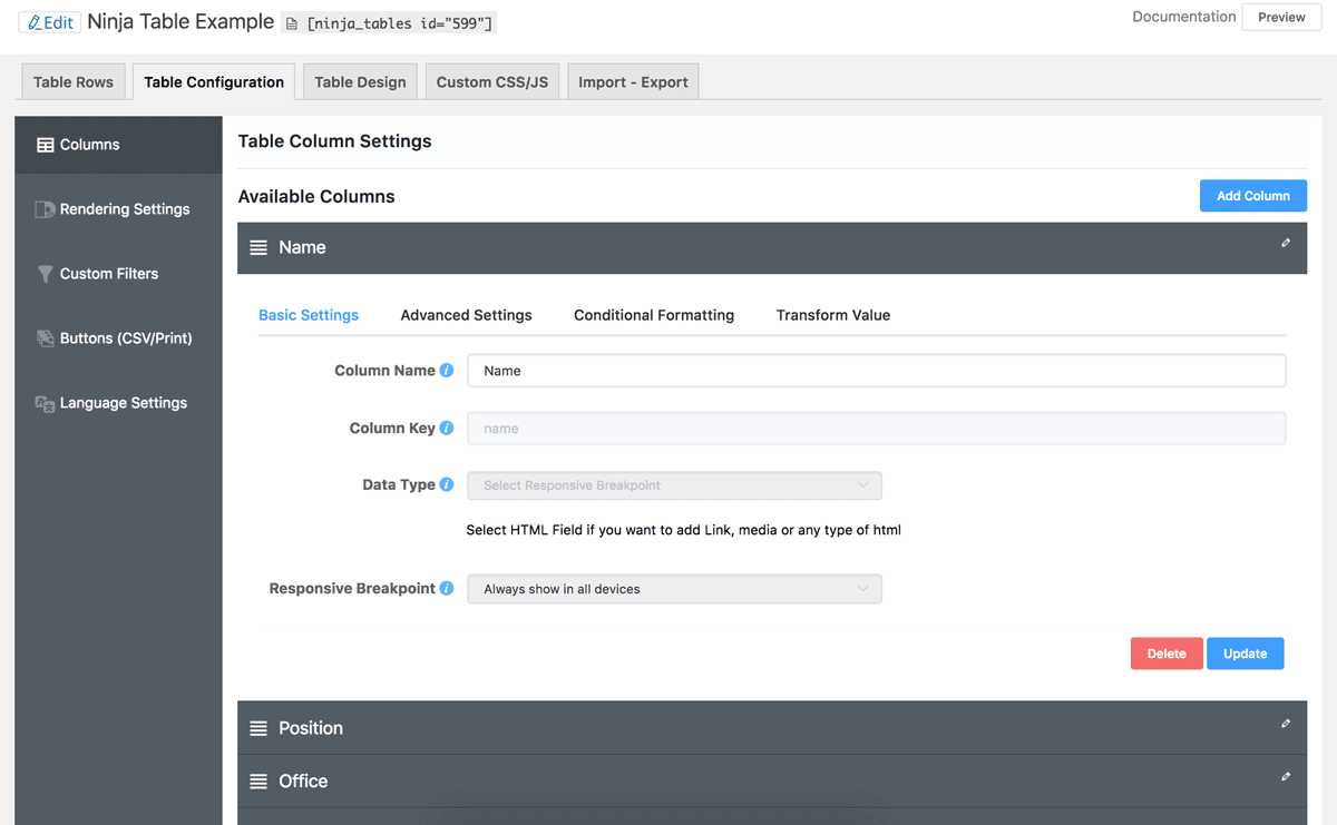 Configuring a new table with the Ninja Tables plugin.