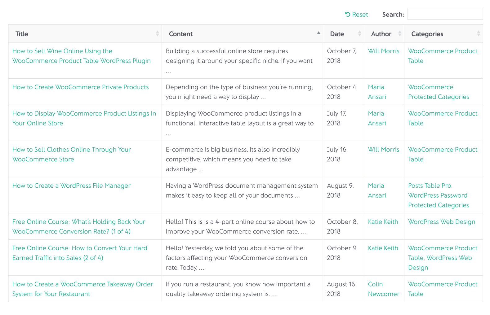 An example of a posts table created with Posts Table with Search & Sort.