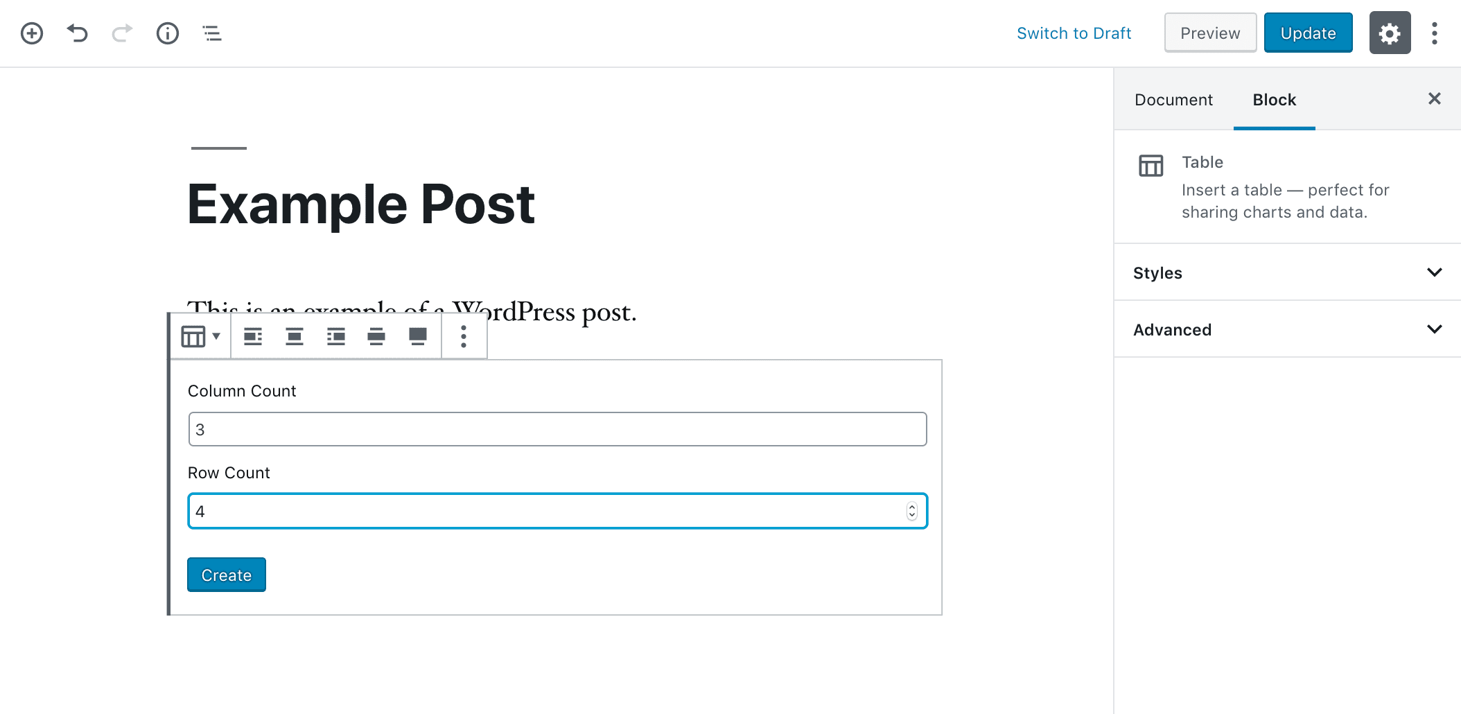 Setting up the columns and rows in a WordPress Table block.