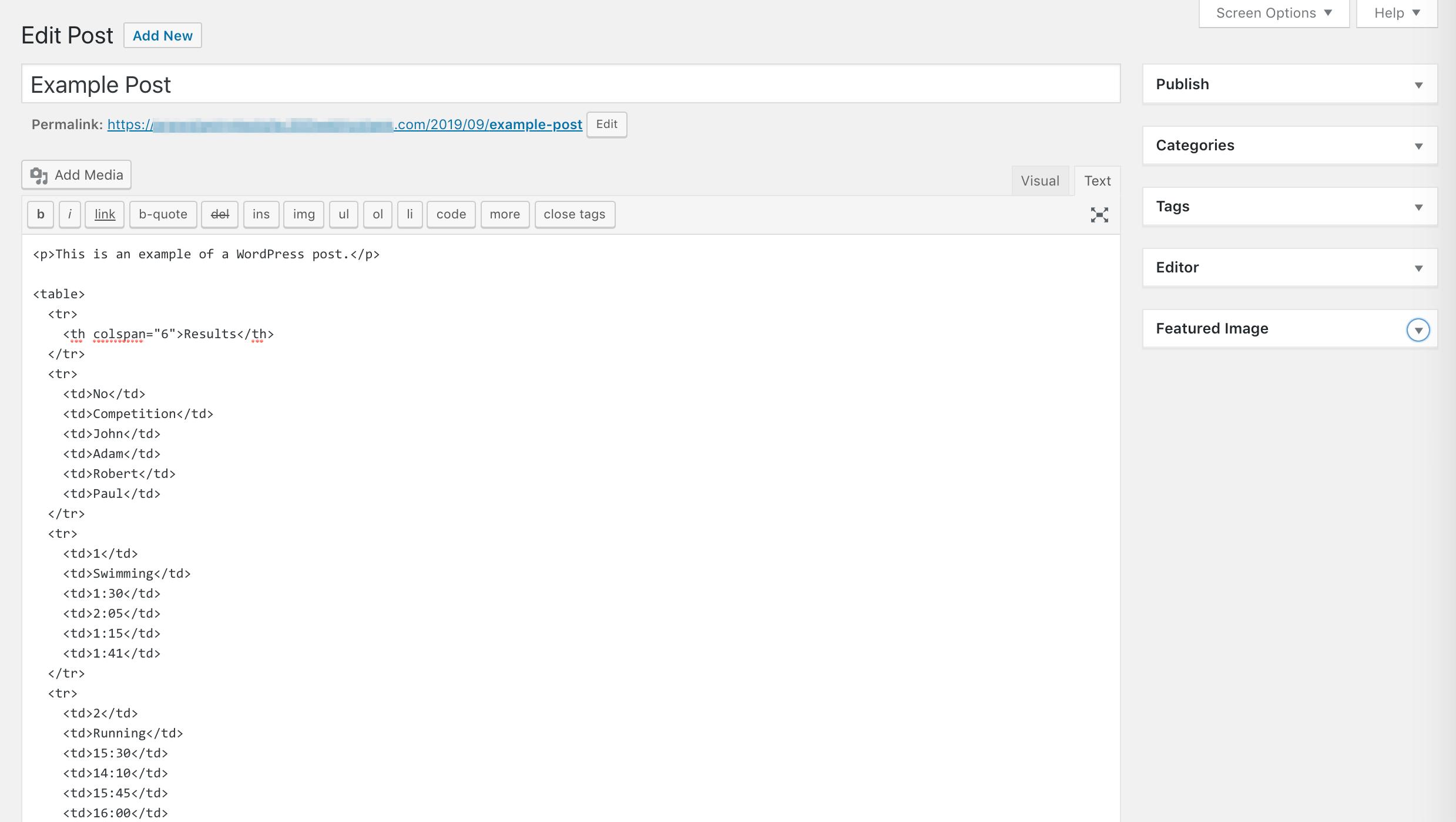 WordPress tables list.