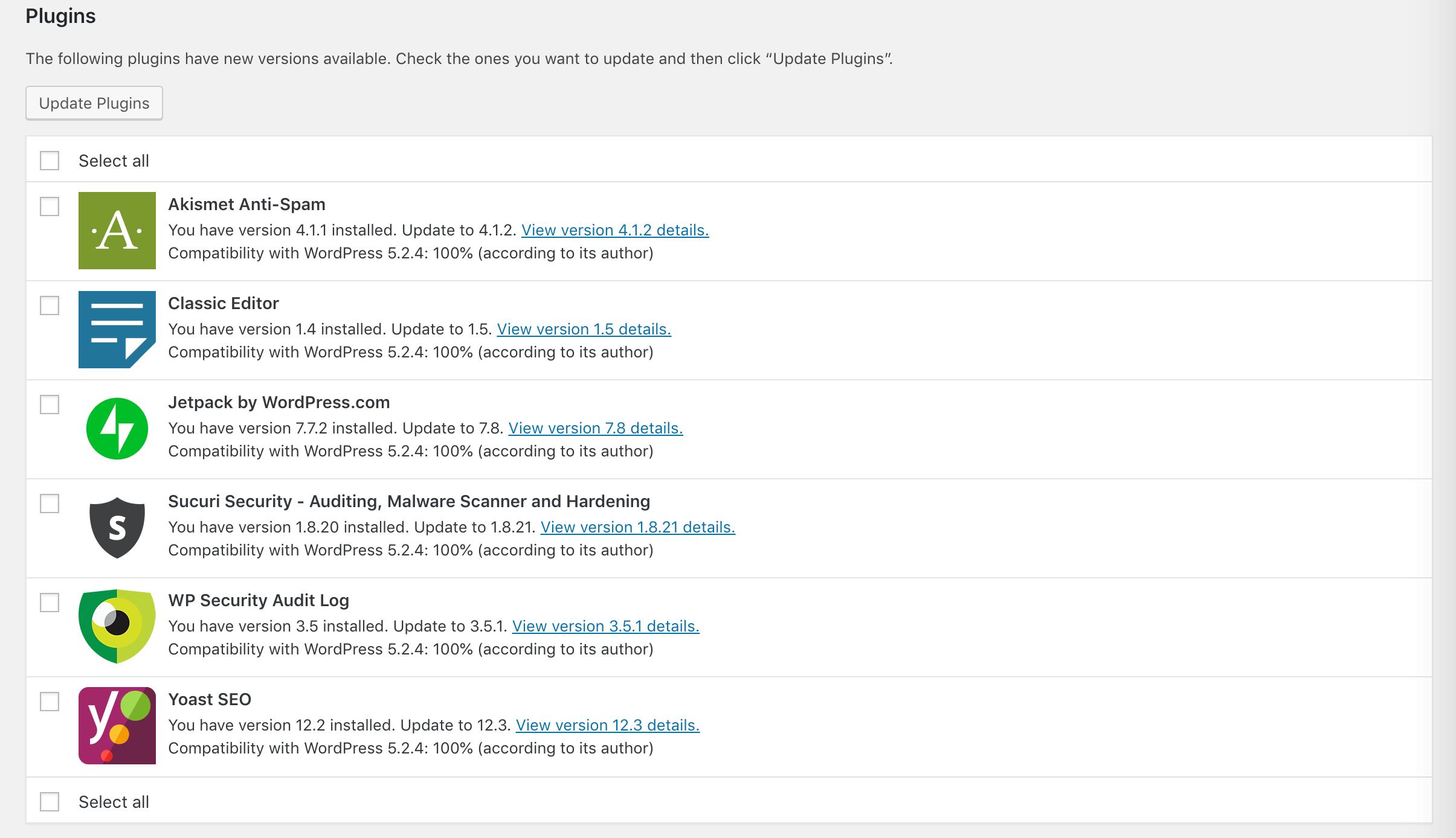 The WordPress Updates page.