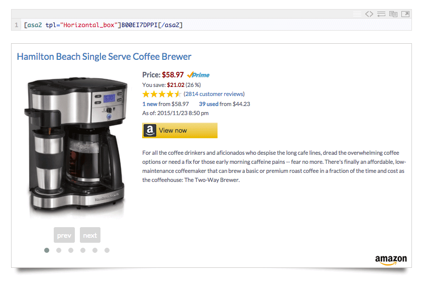 An Amazon product displayed using the ASA2 Pro plugin.