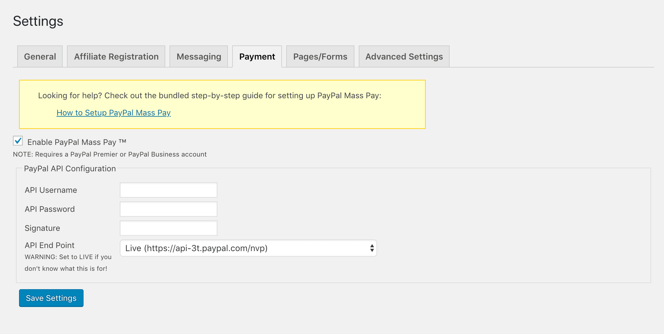 Enabling mass payouts in WordPress Affiliate Manager.