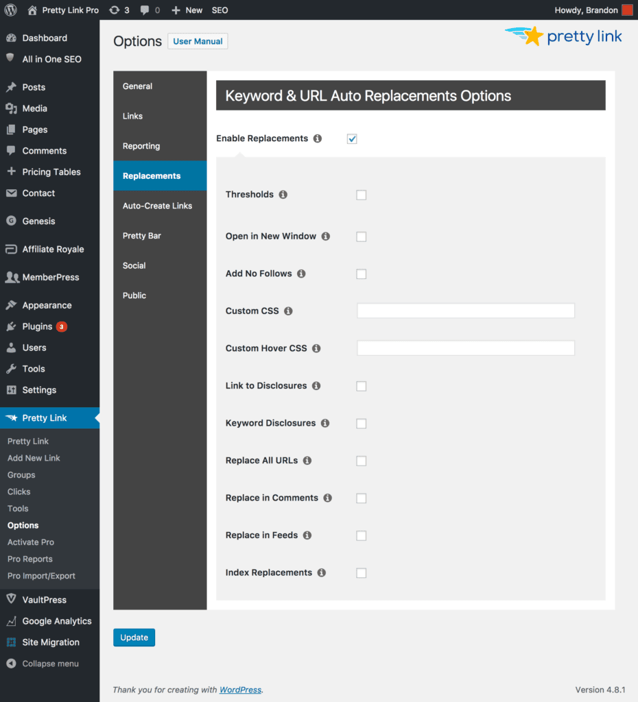The Pretty Links settings page.