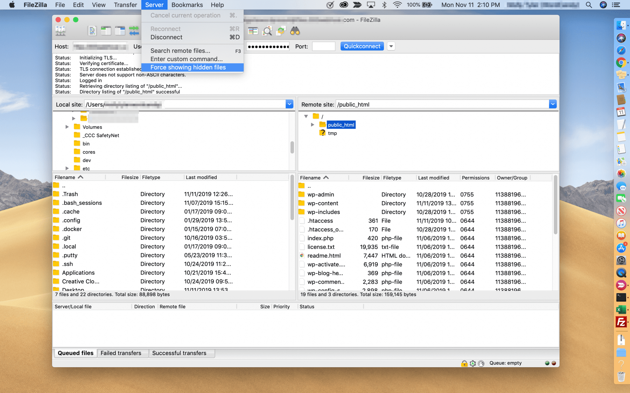 Showing hidden files in FileZilla.
