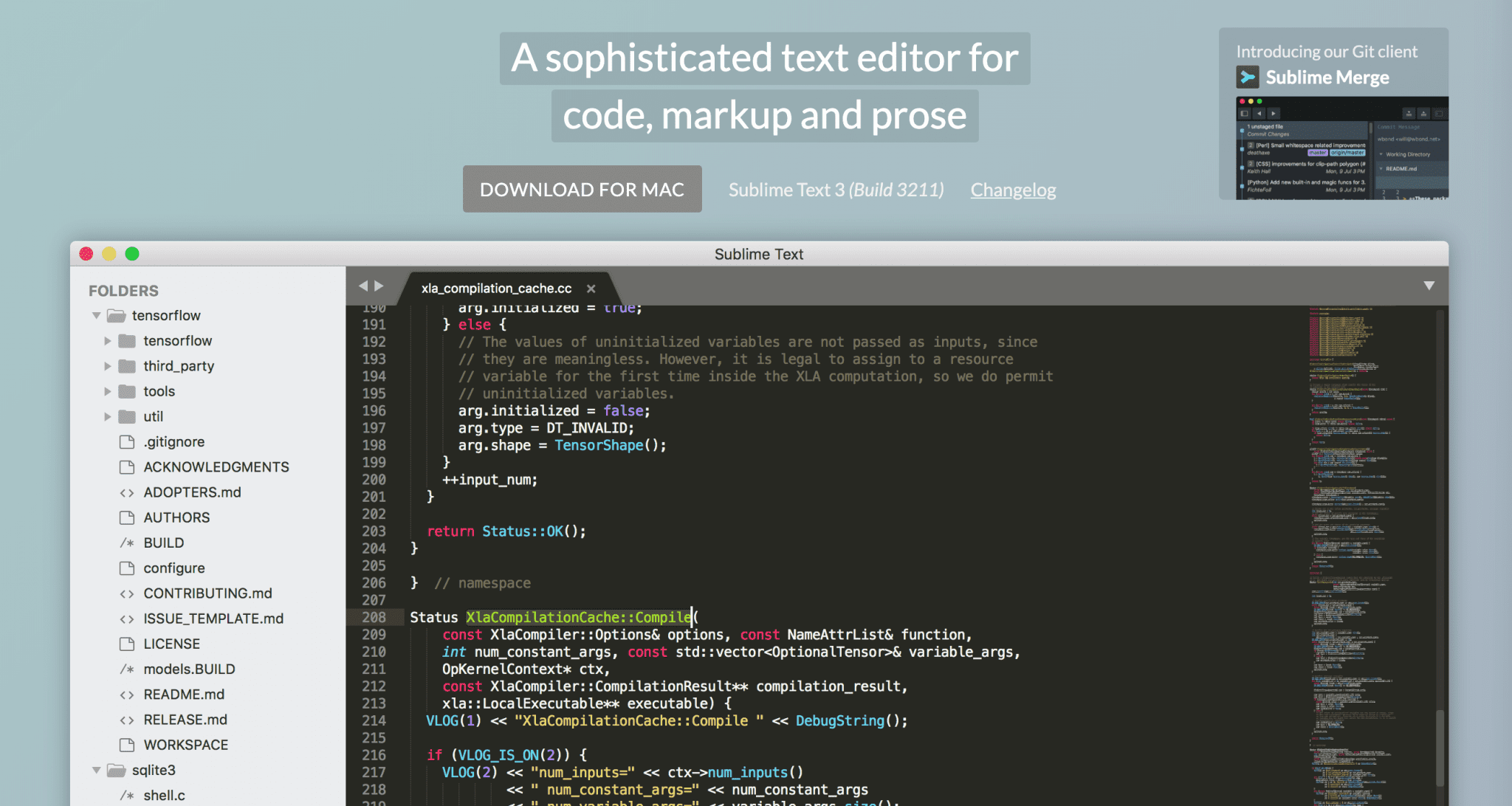 The Sublime Text 3 code editor.