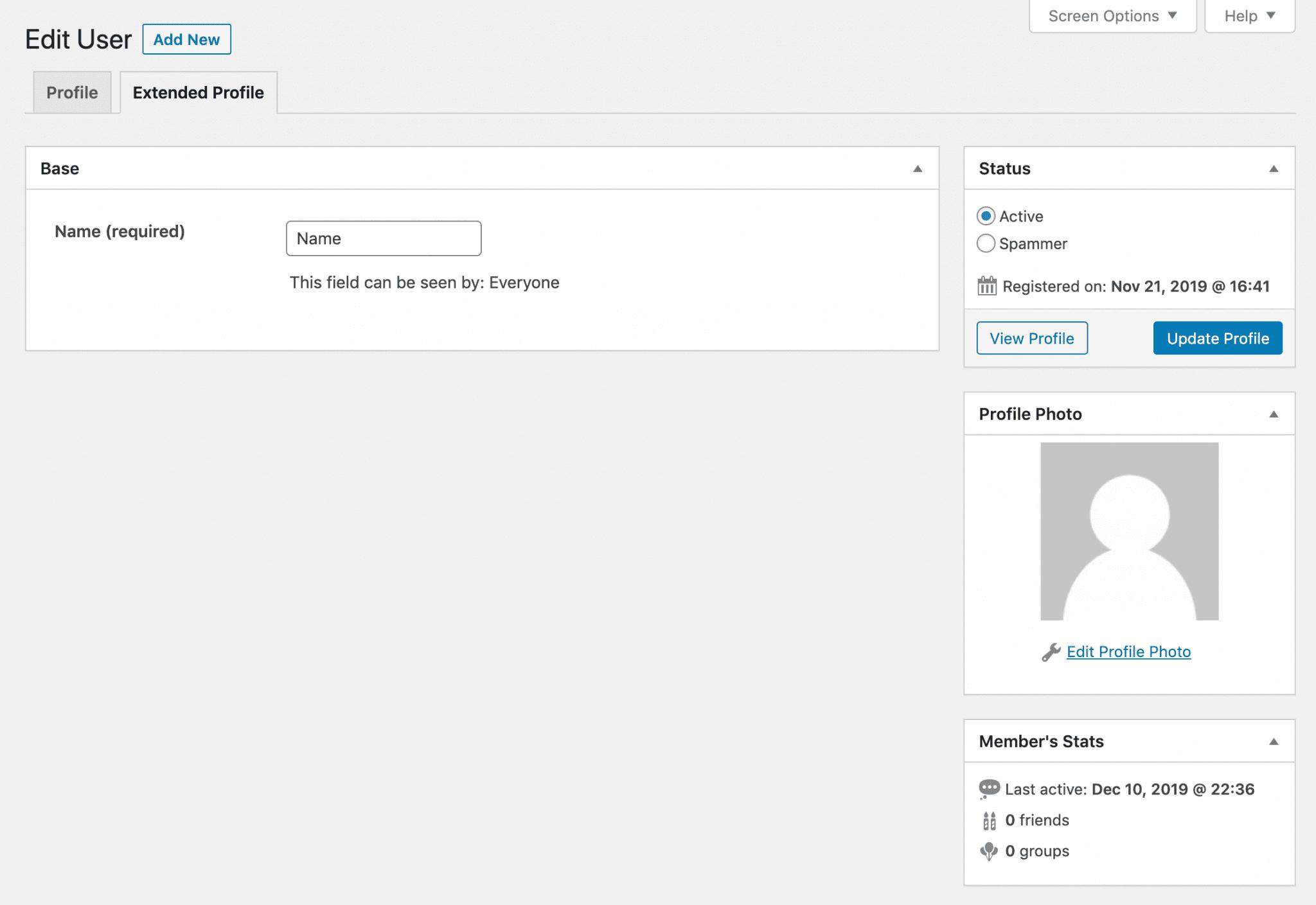 A BuddyPress user profile.