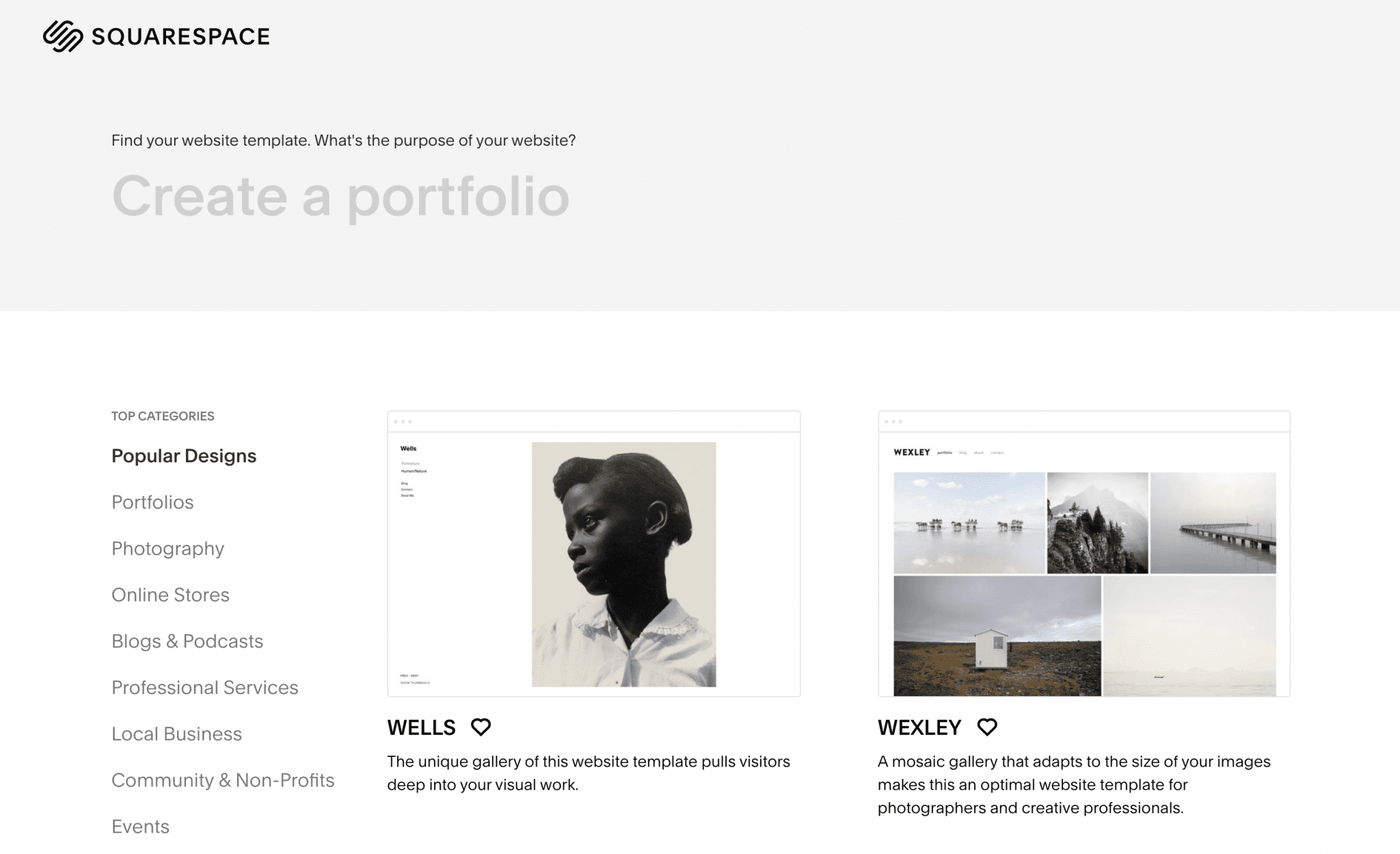 The Squarespace template options.
