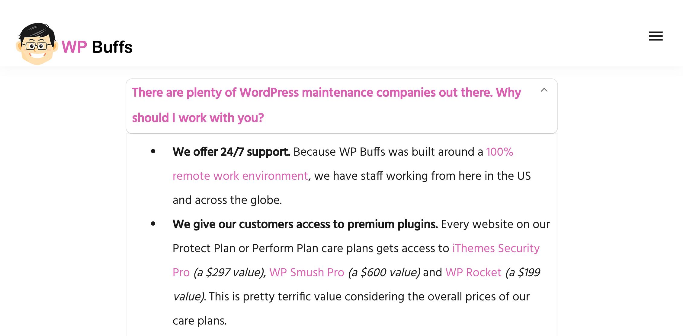 WordPress care plans.