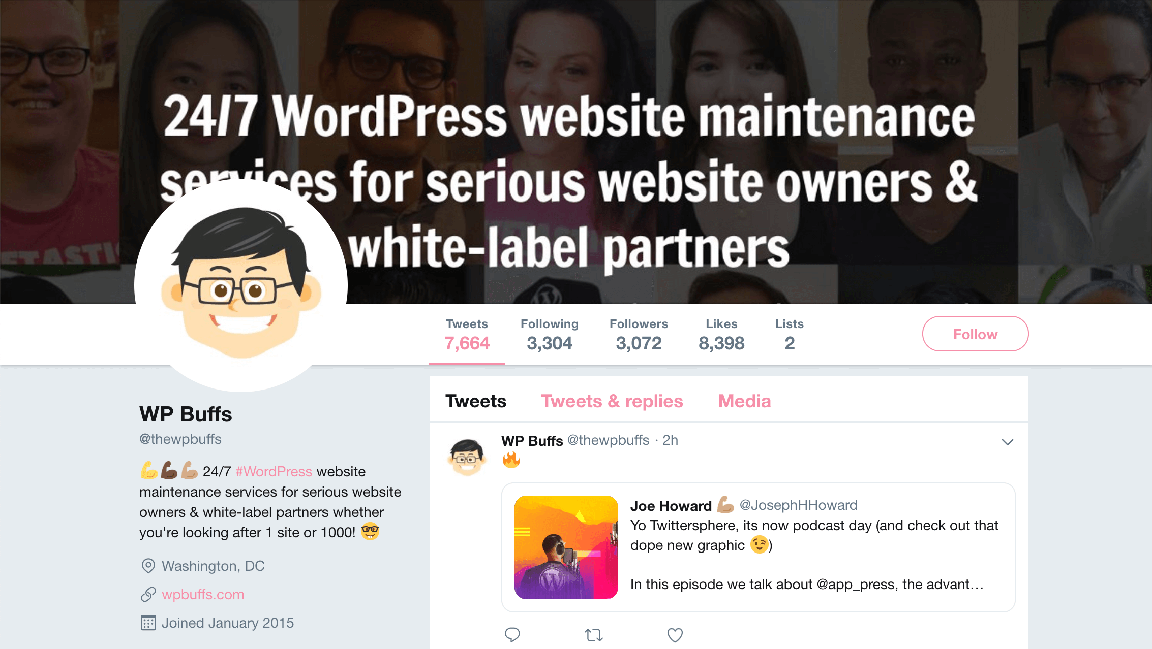 The WP Buffs Twitter account.