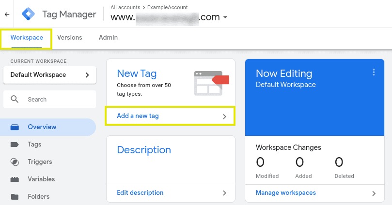 The option to add a new tag on Google Tag Manager.