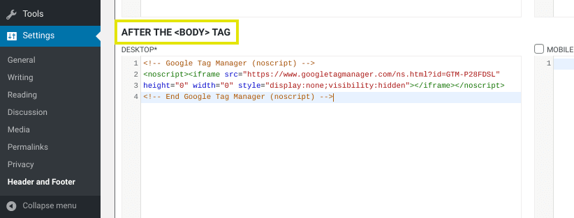 The body tag code from the Header and Footer plugin.