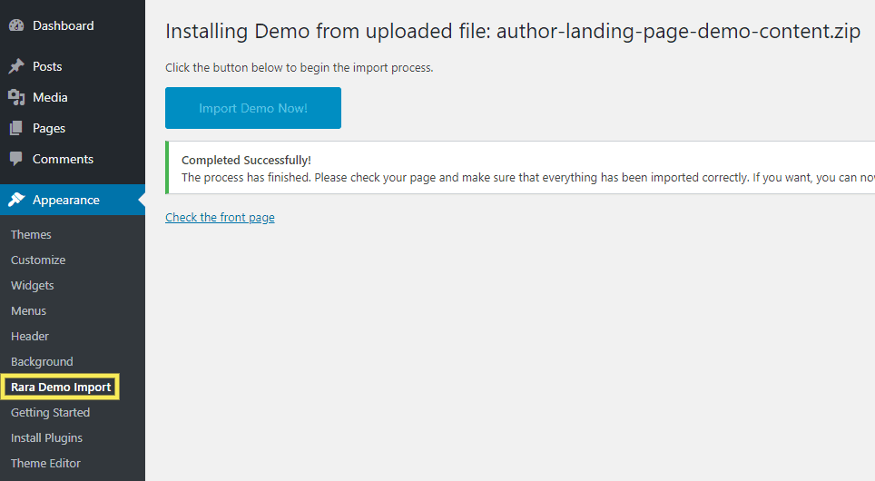 The option to import demo content on a WordPress landing page theme.