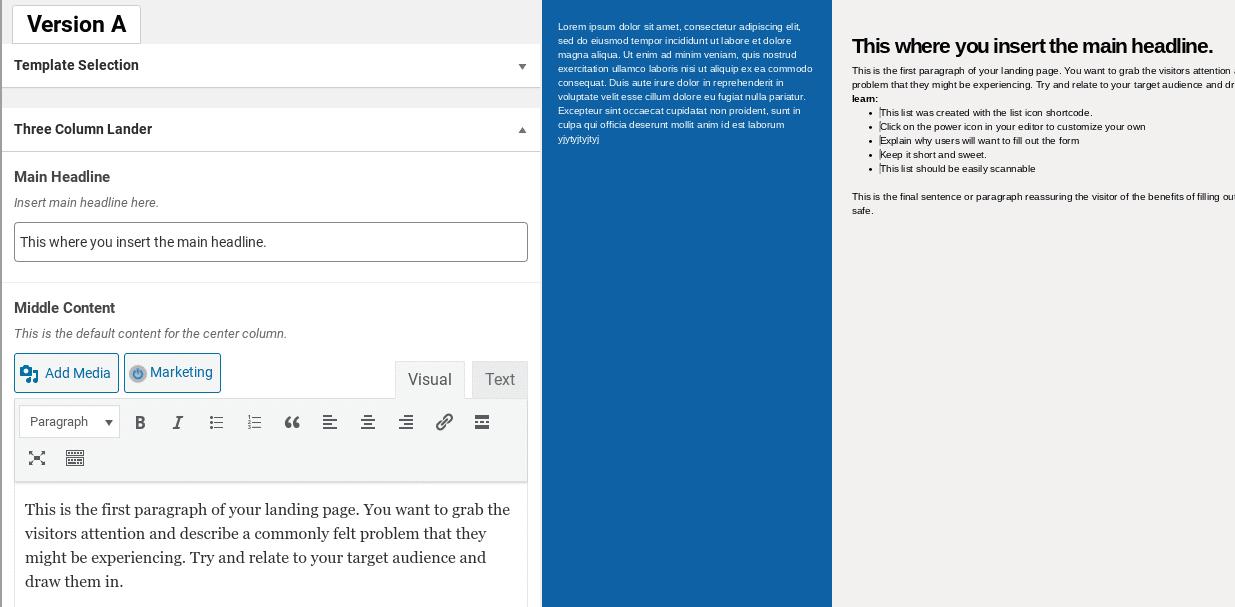 The WordPress Landing Pages plugin visual editor.