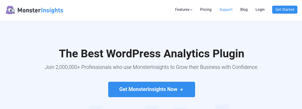 The homepage of the MonsterInsights website.