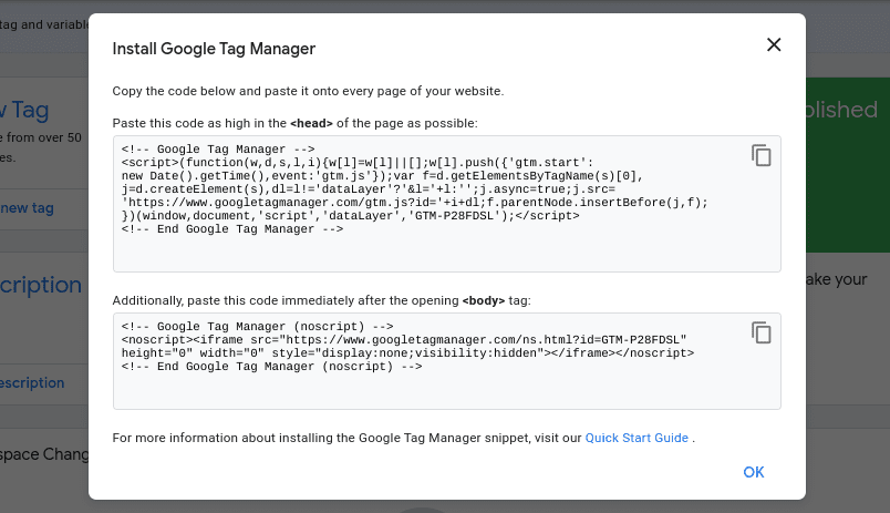 Code snippets pop-up window for a new Google Tag Manager account.