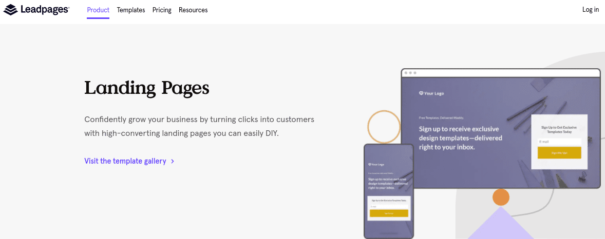 The Leadpages WordPress landing page builder website.