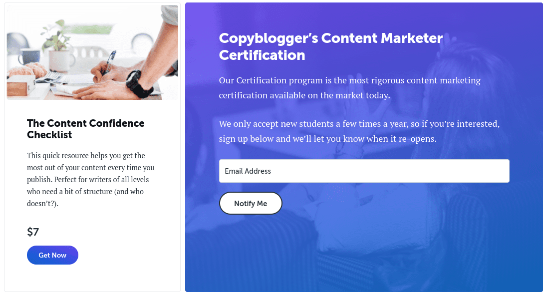 A sign-up landing page on the Copyblogger website.