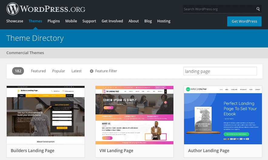 The WordPress Theme Directory filtered by landing page options.