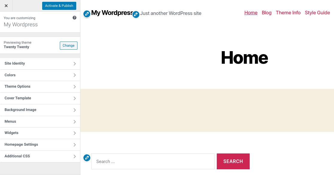 The WordPress Theme Customizer.