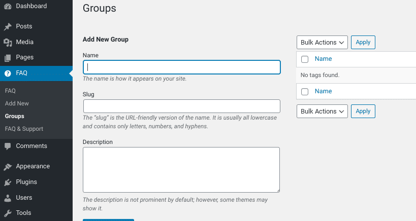 The FAQ Group settings page from the Arconix FAQ WordPress plugin.