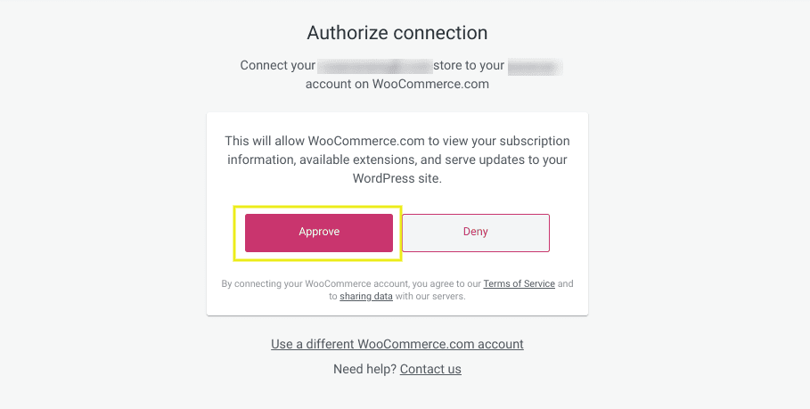 The page to approve the connection between WordPress and WooCommerce extensions.