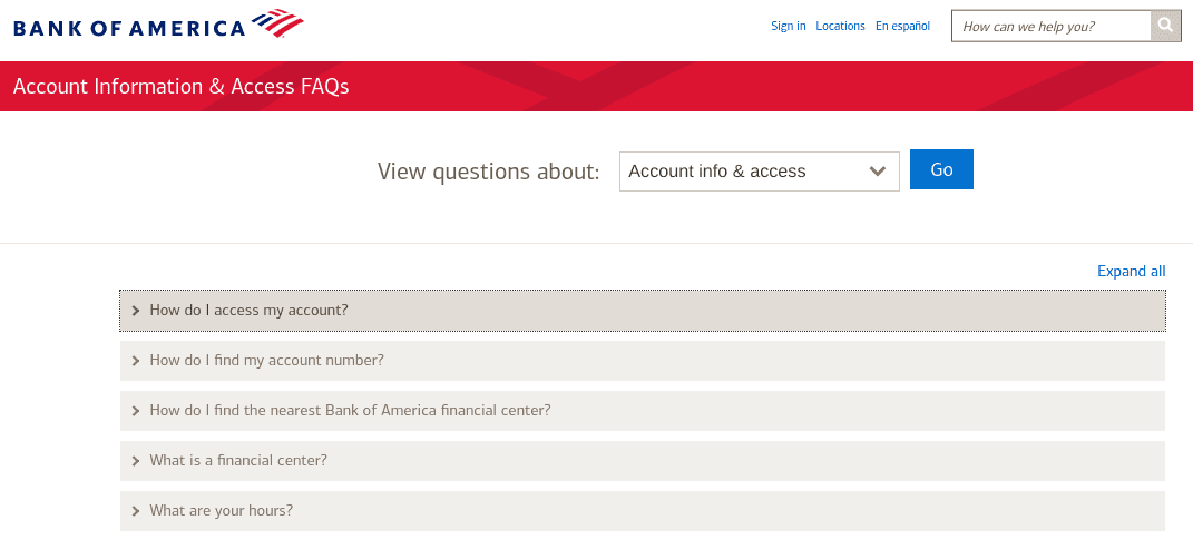 The FAQs page on the Bank of America website.