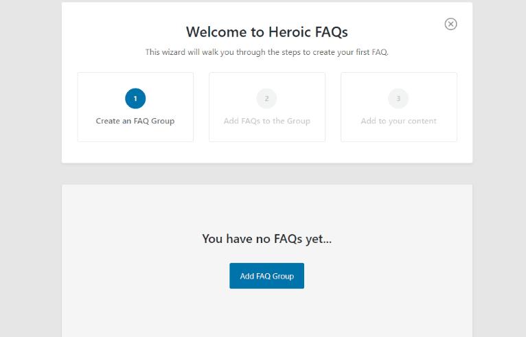 The Heroic FAQs WordPress plugin Setup Wizard.