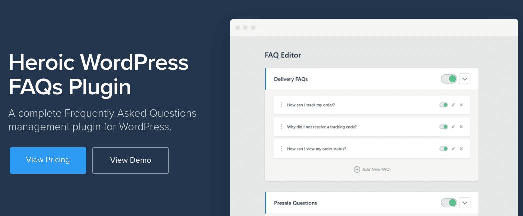The Heroic FAQ WordPress plugin website homepage.