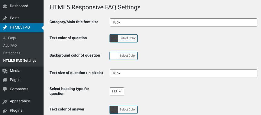 The customize page from the HTML5 FAQ WordPress plugin.