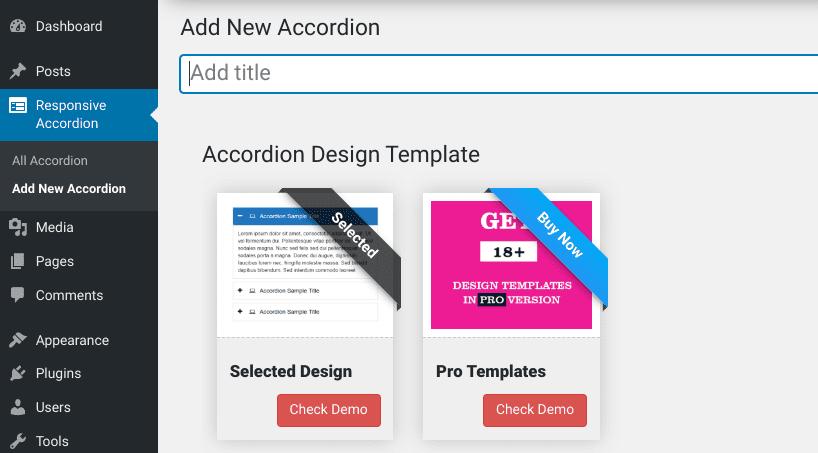 The setup page of the Accordion FAQ WordPress plugin.