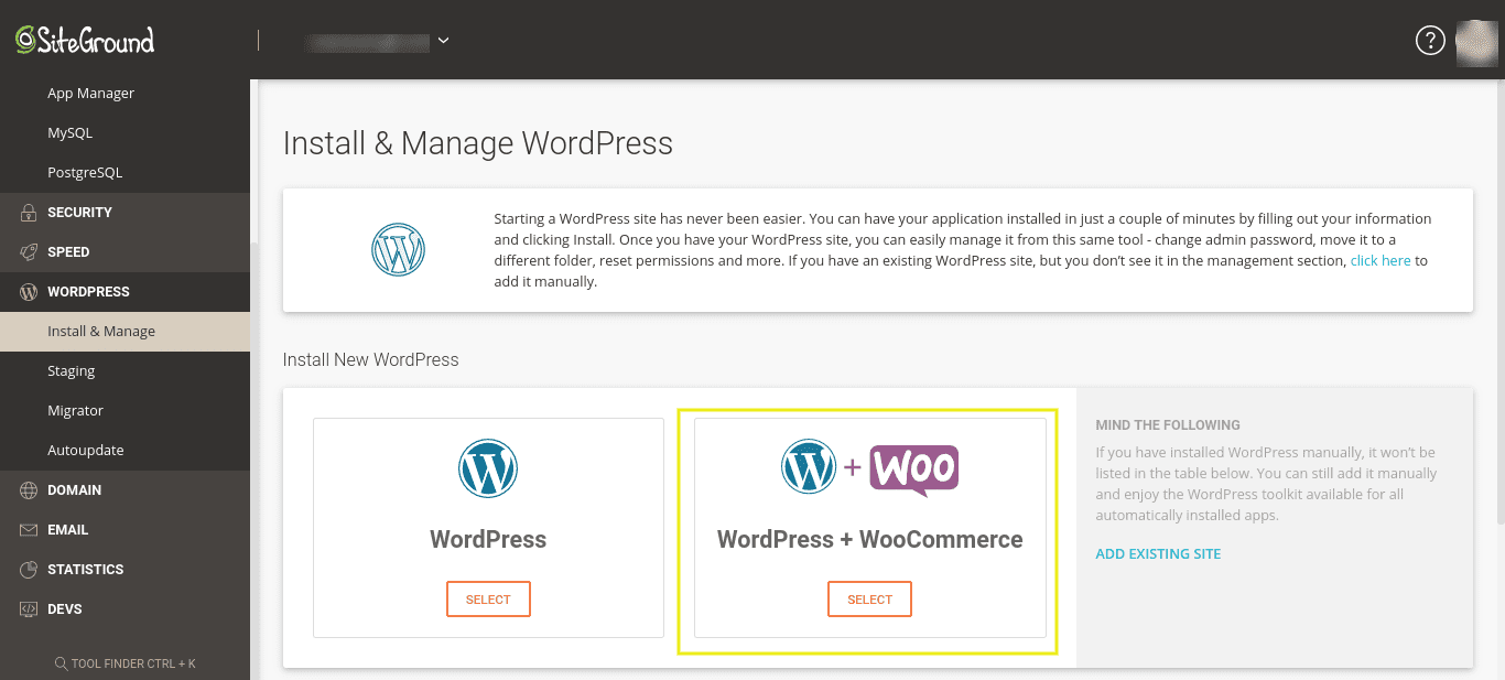 The WordPress and WooCommerce one-click installation option on the user dashboard.