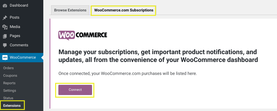 The WooCommerce settings page to connect WordPress and WooCommerce subscriptions.