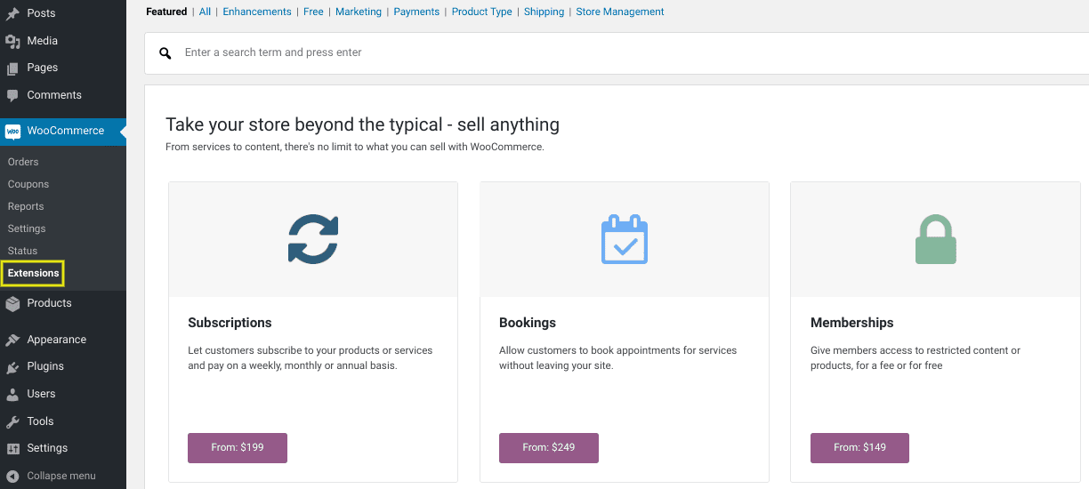 The WooCommerce extensions page from the WordPress dashboard.
