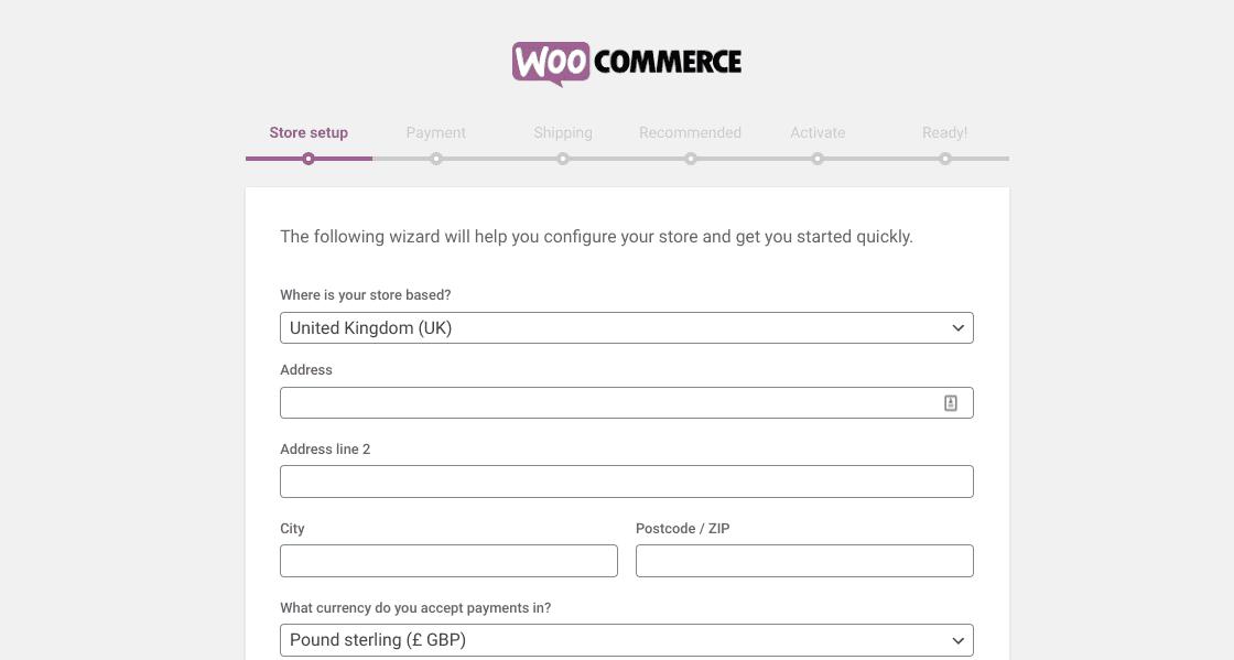 The WooCommerce installation wizard in WordPress.