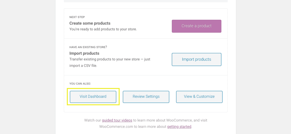 The last page on the WooCommerce installation wizard setup.