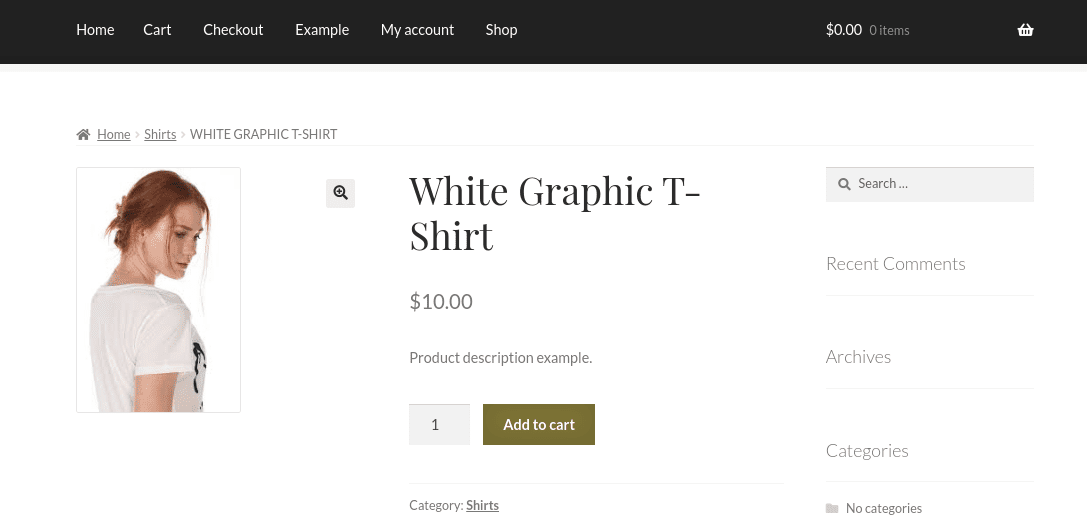 A demo of a product page on a WordPress site.